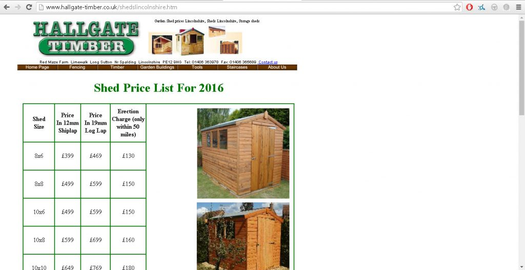 Sheds Page HTML table