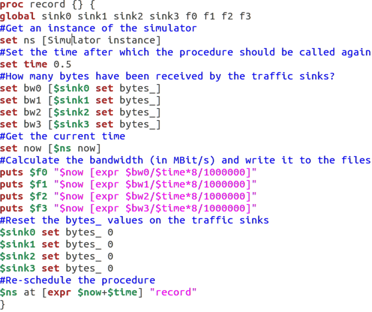 Commented source code of the record procedure
