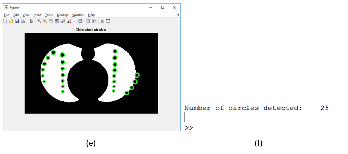 Matlab - (e) shows '4.jpg' with detected circles highlighted (f) shows number of circles highlighted displayed in Matlab console
