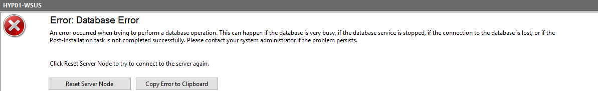 WSUS WID Timeout message