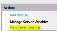 Viewing the Server Variables within IIS