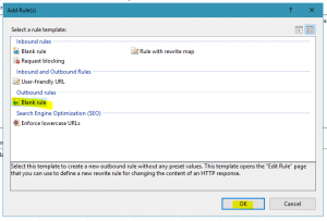 Selecting Outbound rule within IIS